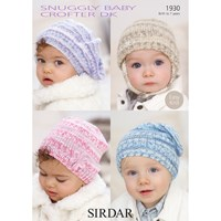 Sirdar Snuggly Baby Hats Knitting Pattern 1930