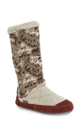 Acorn Women's Slouch Slipper Boot Tribal Tan Fabric