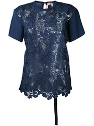N 21 No21 Jersey Panelled Lace Top Women Cotton Polyester 44 Blue
