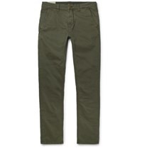 Nudie Jeans Slim Adam Garment Dyed Stretch Organic Cotton Twill Trousers Green