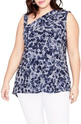 Rachel Roy Plus Size Women's One Shoulder Floral Top Navy Combo