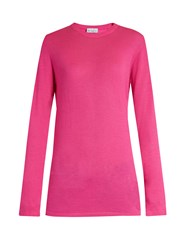 Raey Long Line Fine Knit Cashmere Sweater Pink
