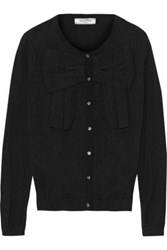Valentino Roma Bow Detailed Cotton Cardigan Black