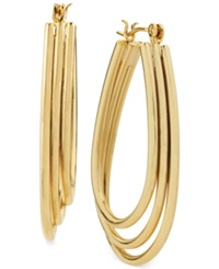 Hint Of Gold Three Row Teardrop Hoop Earrings In 14K Gold Plated Metal 35Mm X 25Mm