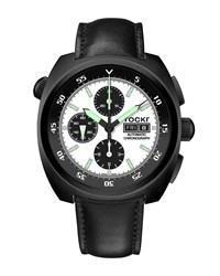 Tockr Watches Air Defender Panda Chronograph Watch With Leather Strap Black Pvd White Black