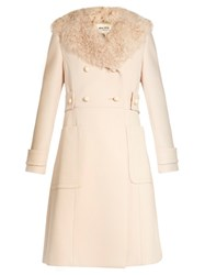 Miu Miu Double Breasted Wool And Sheepskin Coat Light Pink