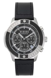 Versus By Versace Admiralty Chronograph Leather Strap Watch 44Mm Black Silver