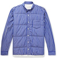 Sacai Shell Trimmed Quilted Striped Cotton Poplin Overshirt Blue