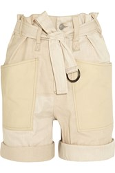 Isabel Marant Verna Belted Cotton And Linen Blend Shorts White