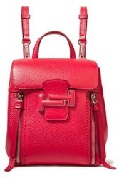 Tod's Woman Pebbled Leather Backpack Crimson
