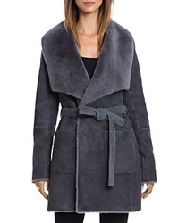 Bagatelle. City Reversible Merino Shearling Wrap Coat Graphite