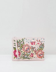 New Look Floral Embellished Zip Top Clutch Bag Oatmeal Beige