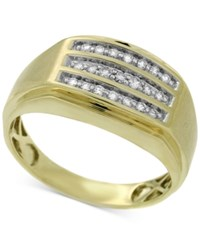 Macy's Men's Diamond Channel Set Three Row Ring 1 4 Ct. T.W. In 10K Gold White