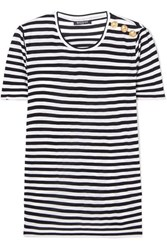 Balmain Button Embellished Striped Jersey T Shirt Black