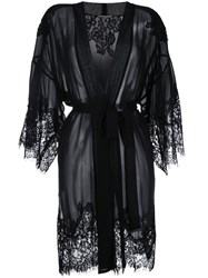 Gold Hawk Lace Trim Wrap Dress Black