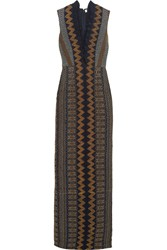 Tory Burch Smocked Crepe De Chine Gown Black