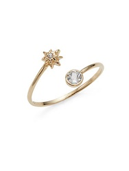Anzie Aztec White Topaz Sapphire And 14K Yellow Gold Ring
