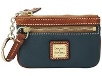 Dooney And Bourke Pebble Small Coin Case Teal Tan Trim Coin Purse Blue