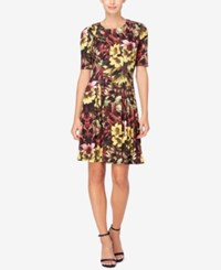 Catherine Malandrino Printed Pleated Fit And Flare Dress Winter Floral
