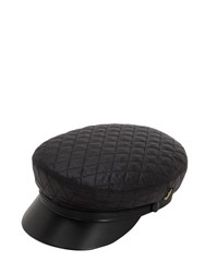 Borsalino Leather And Quilted Nylon Sailor Hat Black