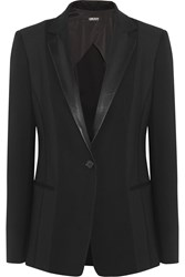 Dkny Leather Trimmed Ponte And Mesh Blazer Black