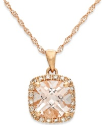 Macy's Morganite 1 1 4 Ct. T.W. And Diamond Accent Pendant Necklace In 14K Rose Gold