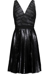 Proenza Schouler Paneled Coated Seersucker And Crepe Dress Black