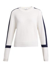 Allude Contrast Block Cashmere Sweater Navy Multi