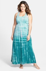 Plus Size Women's Hard Tail Surplice Side Tie Racerback Maxi Dress Aqua Berry Tie Dye