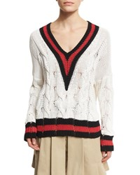 Rag And Bone Emma Varsity Stripe Cable Knit Sweater White Red Black White Pattern