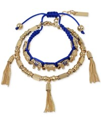Inc International Concepts M. Haskell For Inc Gold Tone 2 Pc. Set Blue Macrame Elephant And Tassel Bracelets Only At Macy's