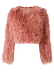 Paule Ka Cropped Feather Jacket Pink And Purple