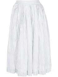 Casey Casey Striped Full Skirt White