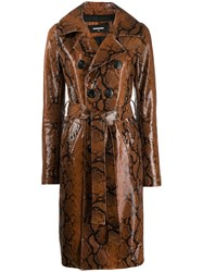 Dsquared2 Snakeskin Effect Coat Brown