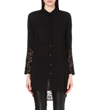 French Connection Taza Lace Oversized Shirt Black