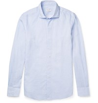 Incotex Micro Checked Linen And Cotton Blend Shirt Light Blue
