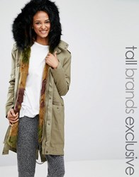 Glamorous Tall Faux Fur Lined Parka Jacket Khaki Green