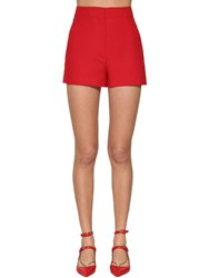 Valentino Silk And Wool Crepe Shorts Red