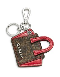 Calvin Klein Leather Purse Keychain Brown Khaki Red