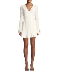 3752845067dc0 Donna Mizani Audrina V Neck Wrap Front Long Sleeve Mini Cocktail Dress White