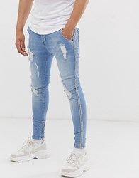 Sik Silk Siksilk Super Skinny Jeans In Light Wash With Side Detail Blue