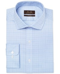 Tasso Elba Men's Mulberry Classic Regular Fit Non Iron Light Blue Check Dress Shirt Only At Macy's