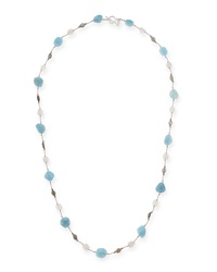 Aquamarine Moonstone And Labradorite Long Necklace 35'L Margo Morrison