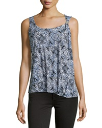 Laundry By Shelli Segal Printed Stretch Knit Tank Palace Blue