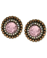 Betsey Johnson Gold Tone Crystal Gem Button Stud Earrings