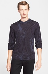 Etro Paisley Print Wool Sweater Blue