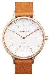 Women's Skagen 'Anita' Leather Strap Watch 34Mm