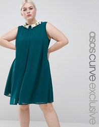 Asos Curve Pleat Swing Dress With Flower Embellished Collar Forest Green