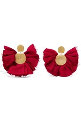 Katerina Makriyianni Hand Fan Gold Tone And Silk Earrings Red