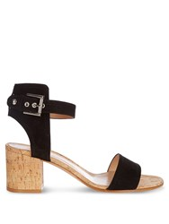 Gianvito Rossi Rikki Cork Block Heel Sandals Black